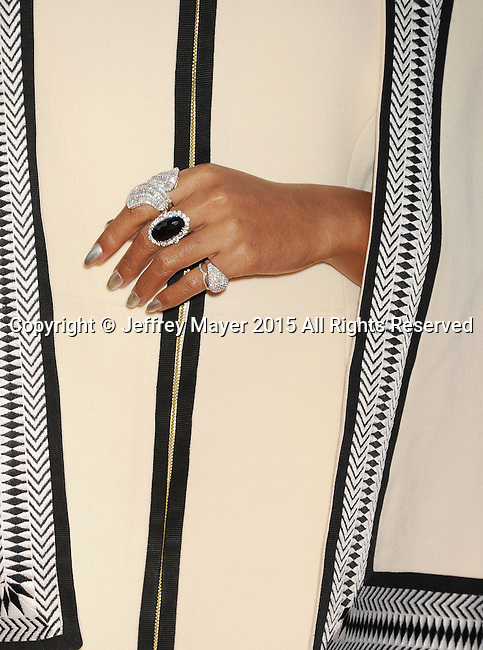 LOS ANGELES, CA - MAY 30: Singer/songwriter Janelle Monae rings detail, at the 2015 MOCA Gala presented by Louis Vuitton at The Geffen Contemporary at MOCA on May 30, 2015 in Los Angeles, California.