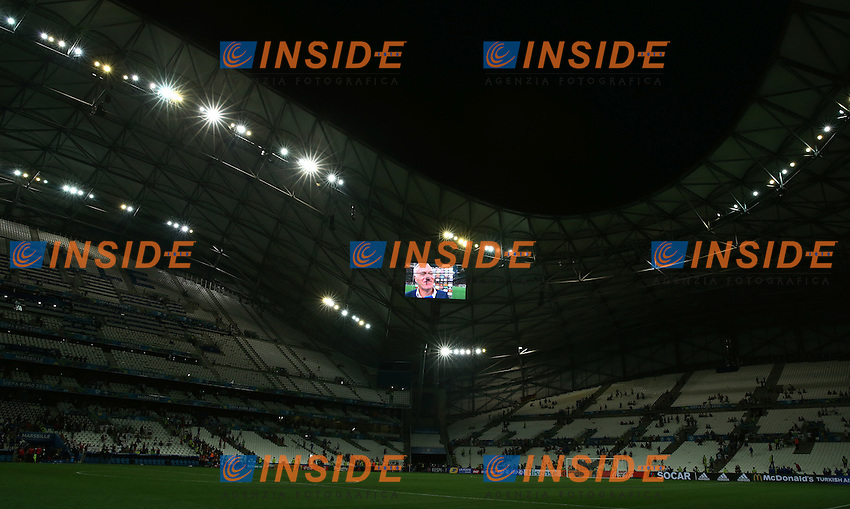 France coach Didier Deschamps interviewed after the match appearing on the stadium screen. allenatore scheme gigante stadio<br /> Marseille 07-07-2016 Stade Velodrome Football Euro2016 Germany - France / Germania - Francia Semi-finals / Semifinali <br /> Foto Matteo Ciambelli / Insidefoto