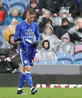 Leicester City's James Maddison removes his short to reveal a 'RIP Sophie I Love You' message as he celebrates scoring the opening goal from a free-kick<br /> <br /> Photographer Rich Linley/CameraSport<br /> <br /> The Premier League - Burnley v Leicester City - Saturday 16th March 2019 - Turf Moor - Burnley<br /> <br /> World Copyright © 2019 CameraSport. All rights reserved. 43 Linden Ave. Countesthorpe. Leicester. England. LE8 5PG - Tel: +44 (0) 116 277 4147 - admin@camerasport.com - www.camerasport.com