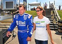 May 30, 2008; Dover, DE, USA; Nascar Sprint Cup Series driver Ryan Newman (left) with wife Krissie Newman during qualifying for the Best Buy 400 at the Dover International Speedway. Mandatory Credit: Mark J. Rebilas-US PRESSWIRE