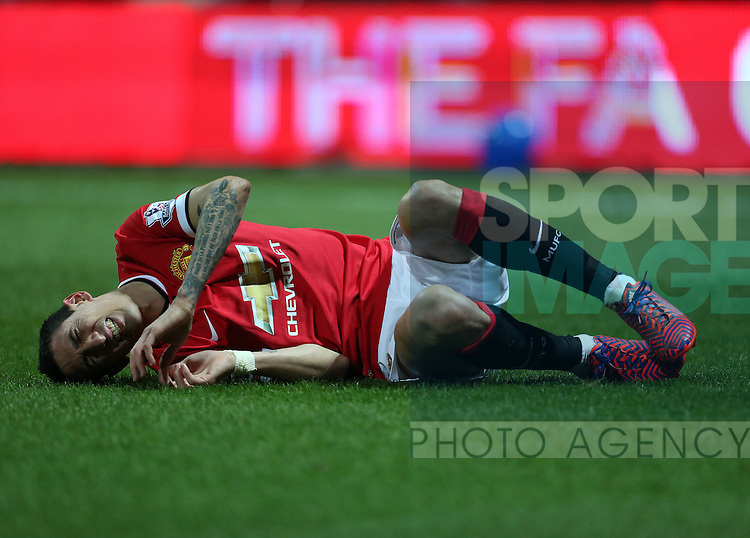 Manchester United's Angel Di Maria gets a kick<br /> <br /> FA Cup - Preston North End vs Manchester United  - Deepdale - England - 16th February 2015 - Picture David Klein/Sportimage