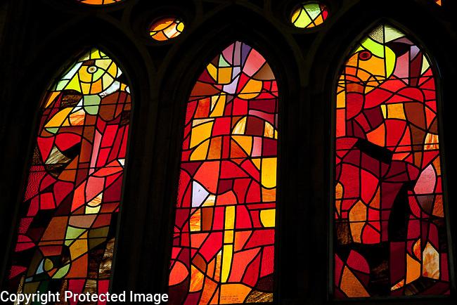 Stained Glass Windows in the Sagrada Familia Church designed by Gaudi in Barcelona, Catalonia, Spain