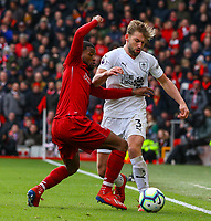 Burnley's Charlie Taylor battles with Liverpool's Georginio Wijnaldum<br /> <br /> Photographer Alex Dodd/CameraSport<br /> <br /> The Premier League - Liverpool v Burnley - Sunday 10th March 2019 - Anfield - Liverpool<br /> <br /> World Copyright © 2019 CameraSport. All rights reserved. 43 Linden Ave. Countesthorpe. Leicester. England. LE8 5PG - Tel: +44 (0) 116 277 4147 - admin@camerasport.com - www.camerasport.com