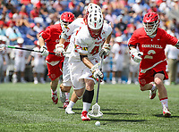 Annapolis, MD - May 20, 2018: Maryland Terrapins Curtis Corley (42) gets the groundball during the quarterfinal game between Maryland vs Cornell at  Navy-Marine Corps Memorial Stadium in Annapolis, MD.   (Photo by Elliott Brown/Media Images International)