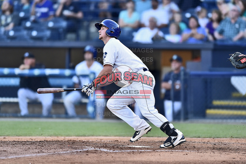 Asheville Tourists designated hitter Brendan Rodgers (1) swings at a pitch during a game against the Hagerstown Suns  at McCormick Field on June 7, 2016 in Asheville, North Carolina. The Tourists defeated the Suns 6-5. (Tony Farlow/Four Seam Images)