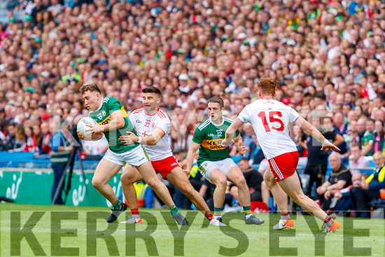 Dara Moynihan, Kerry in action against Tiarnan McCann, Tyrone during the All Ireland Senior Football Semi Final between Kerry and Tyrone at Croke Park, Dublin on Sunday.