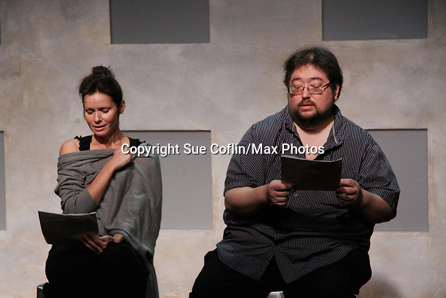 """One Life To Live's Florencia Lozano """"Tea Delgado stars with Scott Sickles (writer OLTL and Artistic Director WorkShop Theatre Co) in """"Verbatim Verboten - NYC"""" on October 18, 2010 at the WorkShop Theater, NYC. (Photo by Sue Coflin/Max Photos)"""