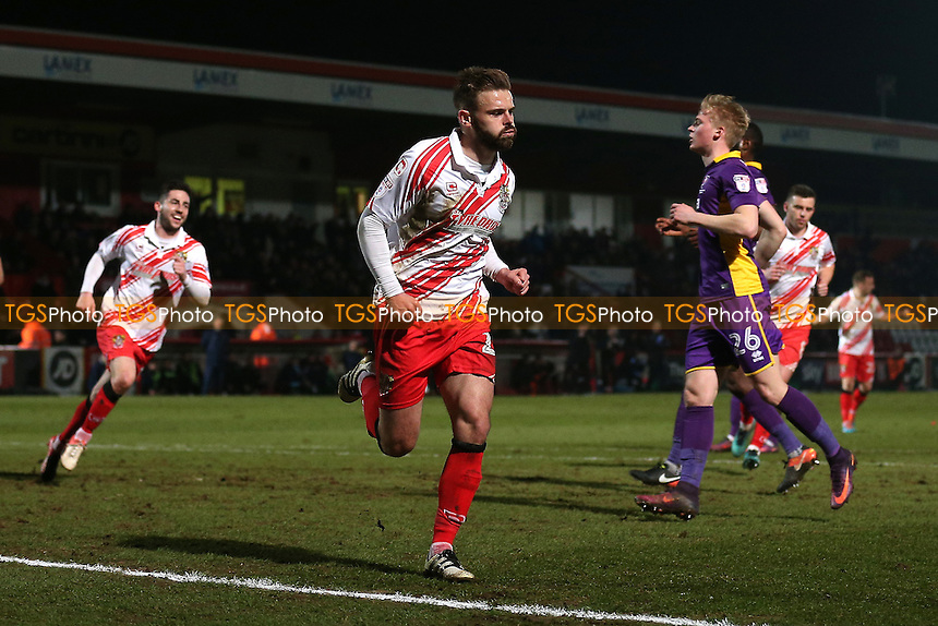Matthew Godden of Stevenage scores the first goal for his team from the penalty spot and celebrates during Stevenage vs Cheltenham Town, Sky Bet EFL League 2 Football at the Lamex Stadium on 14th February 2017
