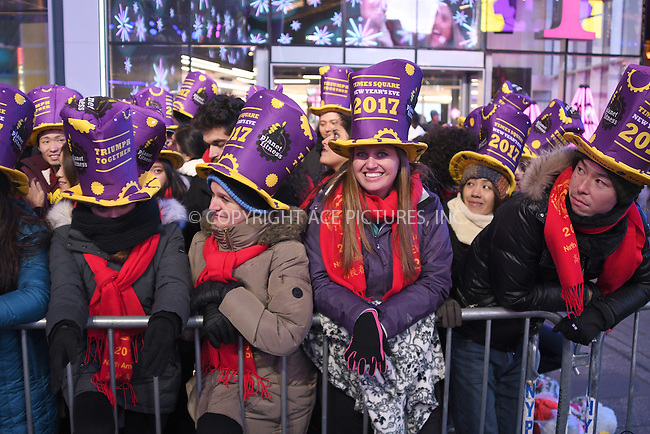 www.acepixs.com<br /> <br /> December 31 2016, New York City<br /> <br /> Atmosphere at the New Years Eve celebrations in Times Square on December 31 2016 in New York City<br /> <br /> By Line: Curtis Means/ACE Pictures<br /> <br /> <br /> ACE Pictures Inc<br /> Tel: 6467670430<br /> Email: info@acepixs.com<br /> www.acepixs.com