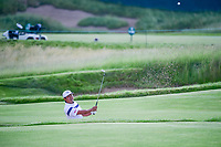 Hideto Tanihara (JAP) hits from the trap on 11 during Thursday's round 1 of the 117th U.S. Open, at Erin Hills, Erin, Wisconsin. 6/15/2017.<br /> Picture: Golffile | Ken Murray<br /> <br /> <br /> All photo usage must carry mandatory copyright credit (&copy; Golffile | Ken Murray)