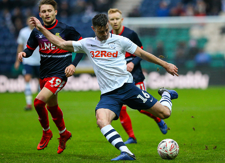 Preston North End's Andrew Hughes hits the post with a shot at the end of the first half<br /> <br /> Photographer Alex Dodd/CameraSport<br /> <br /> The Emirates FA Cup Third Round - Preston North End v Doncaster Rovers - Sunday 6th January 2019 - Deepdale Stadium - Preston<br />  <br /> World Copyright © 2019 CameraSport. All rights reserved. 43 Linden Ave. Countesthorpe. Leicester. England. LE8 5PG - Tel: +44 (0) 116 277 4147 - admin@camerasport.com - www.camerasport.com