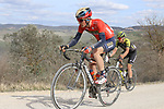 Andrea Garosio (ITA) Bahrain-Merida climbs sector 8 Monte Santa Maria during Strade Bianche 2019 running 184km from Siena to Siena, held over the white gravel roads of Tuscany, Italy. 9th March 2019.<br /> Picture: Seamus Yore | Cyclefile<br /> <br /> <br /> All photos usage must carry mandatory copyright credit (© Cyclefile | Seamus Yore)