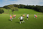 Coniston v Penrith, 20/09/2008. Westmorland League. Coniston players pre match warm up. Photo by Paul Thompson.