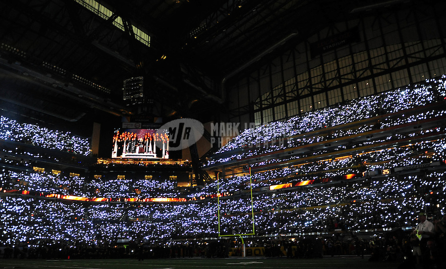 Feb 5, 2012; Indianapolis, IN, USA; Wide view of inside Lucas Oil Stadium as recording artist Madonna performs during the halftime show for Super Bowl XLVI between the New York Giants and New England Patriots at Lucas Oil Stadium.  Mandatory Credit: Mark J. Rebilas-