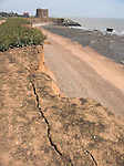 Rapid coastal erosion at East Lane, Bawdsey, Suffolk, England