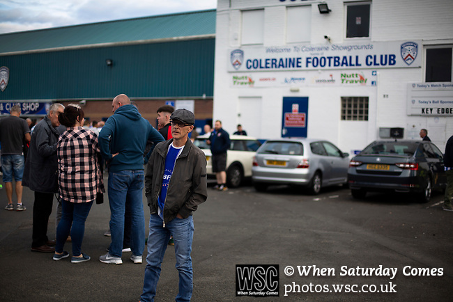 Home supporters arriving at the stadium before Coleraine played Spartak Subotica of Serbia in a Europa League Qualifying First Round second leg at the Showgrounds, Coleraine. The hosts from Northern Ireland had drawn the away leg 1-1 the previous week, however, the visitors won the return leg 2-0 to progress to face Sparta Prague in the next round, watched by a sell-out crowd of 1700.