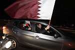 Palestinian fans celebrate after the Qatari team winning the 2019 AFC Asian Cup final match between Japan and Qatar, in Gaza city, 01 February 2019. Photo by Mahmoud Ajjour