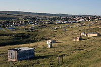 NDEVANA, SOUTH AFRICA MAY 6: A view of a residential area on May 6, 2018 in Ndevana, a rural village in Eastern Cape Province South Africa. Ndevana has about 40.000 residents but no proper facilities like a shop or hospital. The unemployment rate is huge  (about 80-90%) in this forgotten rural area about 50 km from east London, South Africa. (Photo by: Per-Anders Pettersson/Getty Images)