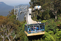 Scenic Cableway, in the Blue Mountains, New South Wales, Australia, is the steepest aerial cable car in the Southern Hemisphere! The Scenic Cableway takes you on a 545 metre ride into - or out of - the World Heritage-listed rainforest of the Jamison Valley. Once at the bottom, you can take the Scenic Walkway to the base of the Scenic Railway.  In all, there are just under three kilometres of elevated boardwalk, 380 metres of which is accessible by wheelchair. The Scenic Cableway can carry up to 84 passengers and is completely wheelchair accessible. 201003273464..Copyright Image from Victor Patterson, 54 Dorchester Park, Belfast, UK, BT9 6RJ..Tel: +44 28 9066 1296.Mob: +44 7802 353836.Voicemail +44 20 8816 7153.Skype: victorpattersonbelfast.Email: victorpatterson@mac.com.Email: victorpatterson@ireland.com (back-up)..IMPORTANT: If you wish to use this image or any other of my images please go to www.victorpatterson.com and click on the Terms & Conditions. Then contact me by email or phone with the reference number(s) of the image(s) concerned.