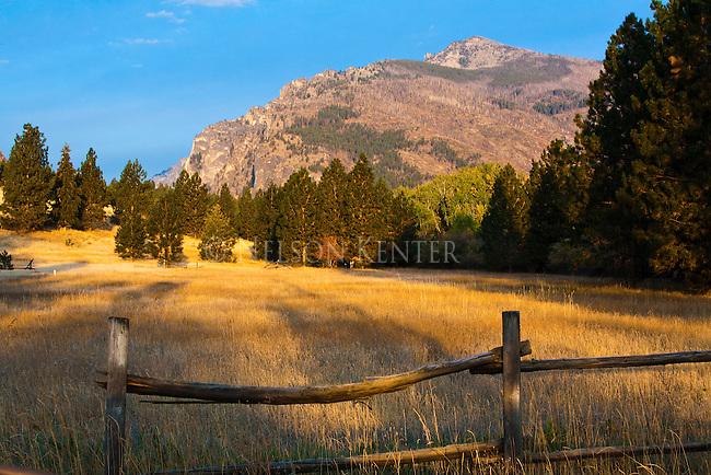 Rail fence and mountains in the Bitterroot Range near Hamilton, Montana