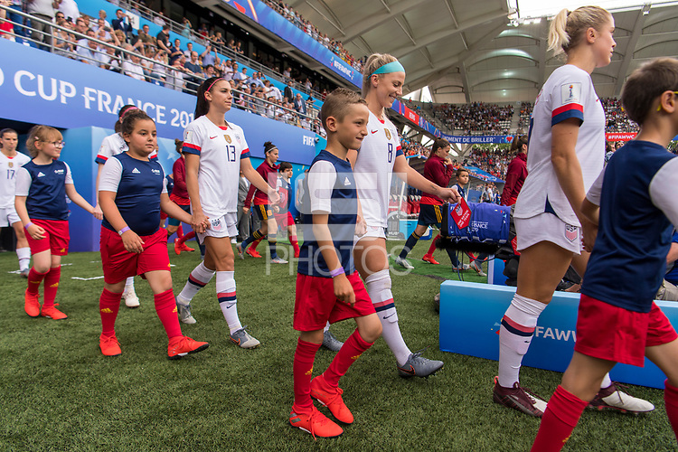 REIMS,  - JUNE 24: Alex Morgan #13 and Julie Ertz #8 take the field during a game between NT v Spain and  at Stade Auguste Delaune on June 24, 2019 in Reims, France.