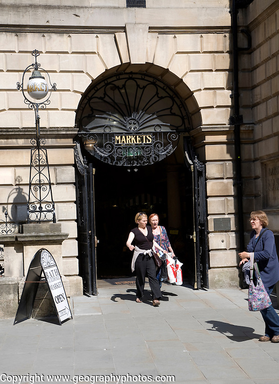 People outside the historic Guildhall market, Bath, Somerset, England