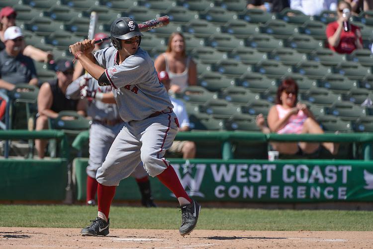 May 22, 2014; Stockton, CA, USA; Santa Clara Broncos catcher Stevie Berman during the WCC Baseball Championship at Banner Island Ballpark.