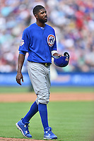 Chicago Cubs center fielder Dexter Fielder (24) between innings during a game against the Atlanta Braves at Turner Field on June 11, 2016 in Atlanta, Georgia. The Cubs defeated the Braves 8-2. (Tony Farlow/Four Seam Images)
