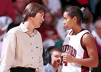 Tara Vanderveer and Yvonne Gbalazeh during the 1999-2000 women's basketball season at Maples Pavilion in Stanford, CA.