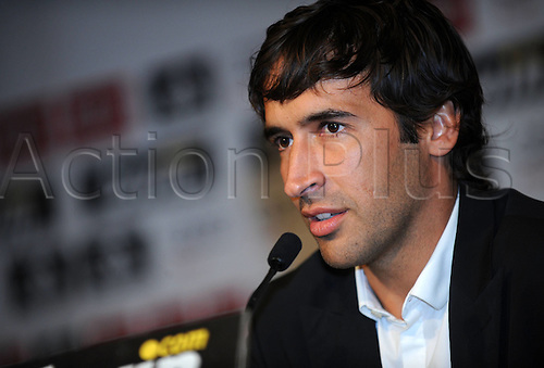 26 07 2010   Madrid  Former Real Madrid s Captain Raul Gonzalez Speaks during A Press Conference to announce His Departure From The team AT Santiago Bernabeu Stadium in Madrid Spain July 26 2010 Raul will Join German Side Schalke ON A Two Year Contract