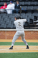 Carson Jones (2) of the Appalachian State Mountaineers at bat against the Wake Forest Demon Deacons at Wake Forest Baseball Park on February 13, 2015 in Winston-Salem, North Carolina.  The Mountaineers defeated the Demon Deacons 10-1.  (Brian Westerholt/Four Seam Images)