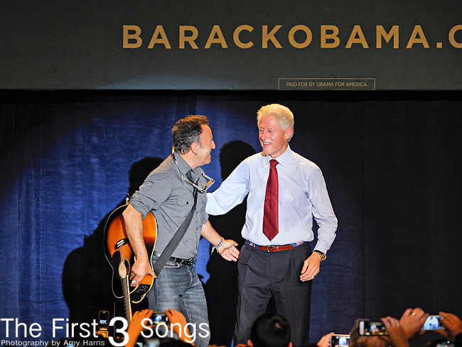 President Bill Clinton appears with Bruce Springteen to campaign for Barack Obama at Cuyahoga Community College in Cleveland, Ohio.
