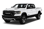 2019 Ram 1500 Rebel 4 Door Pick Up angular front stock photos of front three quarter view