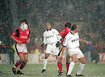 Chris Armstrong of Tottenham looks on as the snow falls, the match was later abandoned  - Premier League - Nottingham Forest v Tottenham  - City ground - Nottingham - England -  19th February1996 - Picture Sportimage