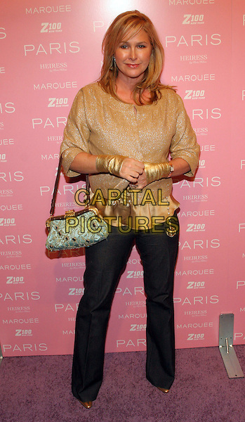 KATHY HILTON (aka KATHY RICHARDS).At Paris Hilton's Record Signing - After Party, New York, NY, USA..August 16th, 2006.Ref: ADM/JL.full length gold top gloves blue jewel encrusted bag purse black trousers.www.capitalpictures.com.sales@capitalpictures.com.©Jackson Lee/AdMedia/Capital Pictures.