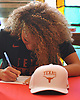 Celeste Taylor, Long Island Lutheran girls basketball standout, signs a letter of intent at the school to play college basketball at the University of Texas on Wednesday, Nov. 14, 2018.