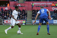 Swansea City's Joel Asoro takes on Ipswich Town's Cole Skuse<br /> <br /> Photographer Ian Cook - CameraSport<br /> <br /> The EFL Sky Bet Championship - Swansea City v Ipswich Town - Saturday 6th October 2018 - Liberty Stadium - Swansea<br /> <br /> World Copyright &copy; 2018 CameraSport. All rights reserved. 43 Linden Ave. Countesthorpe. Leicester. England. LE8 5PG - Tel: +44 (0) 116 277 4147 - admin@camerasport.com - www.camerasport.com