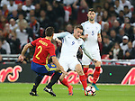 Jamie Vardy of England studs Cesar Apilicueta of Spain during the International friendly match at Wembley Stadium, London. Picture date: November 15th, 2016. Pic David Klein/Sportimage
