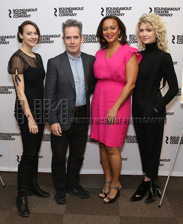"""Sara Topham, Tom Hollander, Opal Alladin, and Scarlett Strallen  attends the """"Travesties"""" Meets The Press on March 6, 2018 at the Roundabout Theatre in New York City."""
