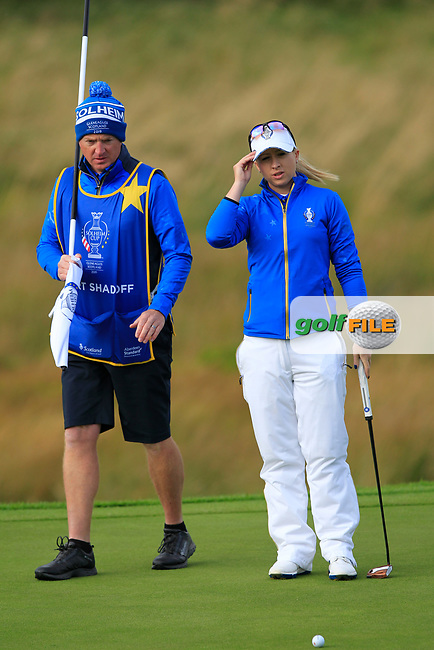 Jodi Ewart Shadoff (EUR) on the 1st green during Day 3 Singles at the Solheim Cup 2019, Gleneagles Golf CLub, Auchterarder, Perthshire, Scotland. 15/09/2019.<br /> Picture Thos Caffrey / Golffile.ie<br /> <br /> All photo usage must carry mandatory copyright credit (© Golffile | Thos Caffrey)