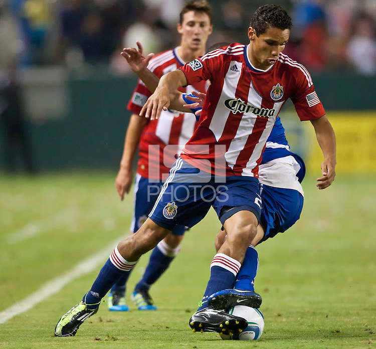 CARSON, CA – June 18, 2011: Chivas USA forward Chris Cortez (27) during the match between Chivas USA and FC Dallas at the Home Depot Center in Carson, California. Final score Chivas USA 1, FC Dallas 2.