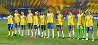 20200310  Calais , France :  Brazilian team with Barbara (1)   Antonia (3)   Bruna (4)   Rafaelle (22)   Jucinara (20)   Luana (23)   Andressa (17)   Miraildes (8)   Marta (10)   Beatriz (16)   Ludmila (19) pictured during the female football game between the national teams of  Brasil and Canada on the third and last matchday of the Tournoi de France 2020 , a prestigious friendly womensoccer tournament in Northern France , on Tuesday 10 th March 2020 in Calais , France . PHOTO SPORTPIX.BE | DIRK VUYLSTEKE