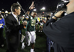 Oregon's LaMichael James raises his hands to  fans while exiting the field after Ducks lose to   Ohio State 26-17 the 96th Rose Bowl in Pasadena, Ca January 1, 2010.
