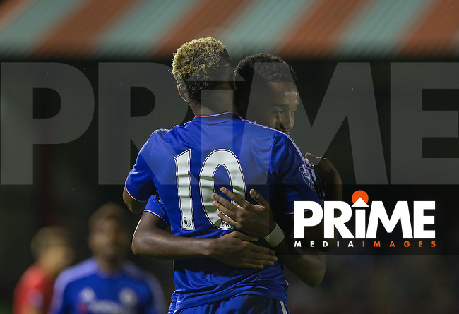 Mukhtar Ali of Chelsea U21 congratulates Kasey Palmer (10) of Chelsea U21on scoring his hat trick during the U21 Premier League International Cup match between Chelsea and Liverpool at Aldershot Town FC, The Recreation Ground, Aldershot on 11 September 2015. Photo by Andy Rowland.
