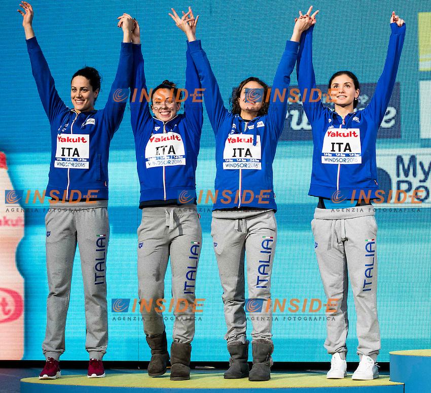 Italy ITA Silver Medal <br /> SCALIA Silvia CARRARO Martina DI PIETRO Silvia FERRAIOLI Erika<br /> Women's 4x50m Medley Relay<br /> 13th Fina World Swimming Championships 25m <br /> Windsor  Dec. 7th, 2016 - Day02 Finals<br /> WFCU Centre - Windsor Ontario Canada CAN <br /> 20161207 WFCU Centre - Windsor Ontario Canada CAN <br /> Photo &copy; Giorgio Scala/Deepbluemedia/Insidefoto