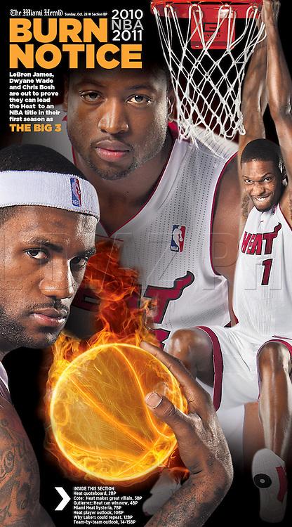 Season Preview of The Miami Heat's Big 3, Lebron James, Dwyane Wade and Cris Bosh.