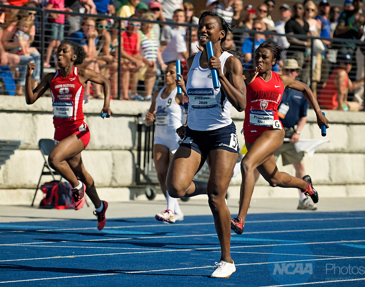 24 MAY 2014:   Janae Johnson of Lincoln University anchors the winning team from the Women's 4x100 Meter Relay during the Division II Women's Outdoor Track & Field Championship held at the Grand Valley Track and Field Stadium in Allendale, MI.   Erik Holladay/NCAA Photos