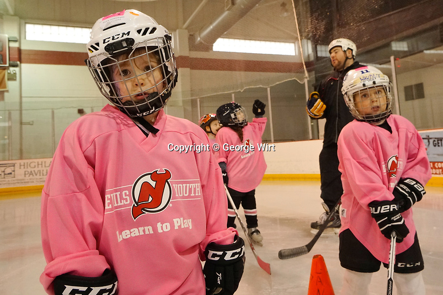 "New Jersey Devils Youth Hockey Club conducts free ""Learn to Play"" Clinics as part of its Girls Ice Hockey Program."