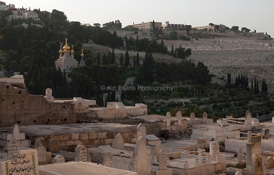 Cemeteries near the Western Wall of the Old City of Jerusalem in Israel.