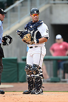 NW Arkansas Naturals catcher Micah Gibbs (27) during a game against the Corpus Christi Hooks on May 26, 2014 at Arvest Ballpark in Springdale, Arkansas.  NW Arkansas defeated Corpus Christi 5-3.  (Mike Janes/Four Seam Images)